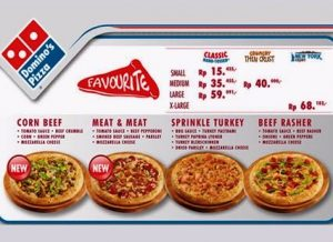 Menu Domino Pizza Delivery